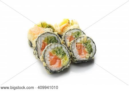 Tempura Maki Rolls With Salmon, Cucumber And Pickled Radish, Isolated On A White.