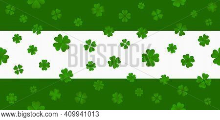 St. Patrick's Day Horizontal Seamless Pattern With Clover Leaves. Clover Leaves Of Varied Designs Fi
