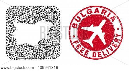 Vector Collage Bulgaria Map Of Aviation Items And Grunge Free Delivery Seal Stamp. Collage Geographi