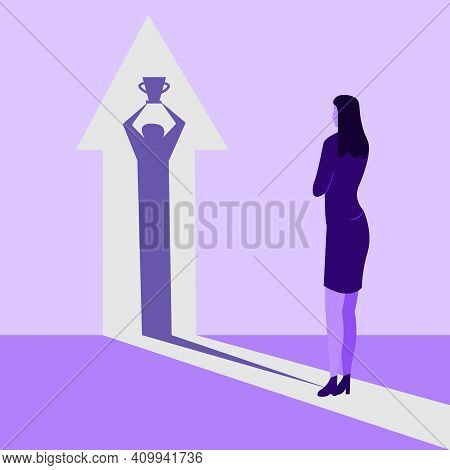 Woman With A Shadow Of Winner Holding The Champion Cup Flat Vector Illustration Isolated On White Ba