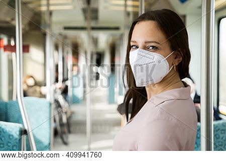 Subway Transport Or Metro With Ffp2 Face Mask
