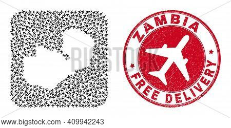 Vector Collage Zambia Map Of Aeroplane Items And Grunge Free Delivery Stamp. Collage Geographic Zamb