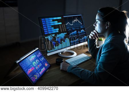 Business Woman Analyst Using Kpi Data On Computer