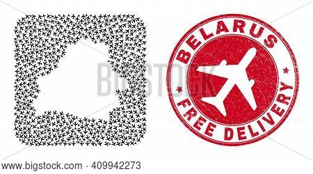 Vector Mosaic Belarus Map Of Aeroplane Items And Grunge Free Delivery Seal Stamp. Collage Geographic