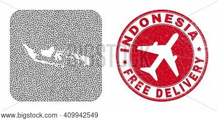 Vector Mosaic Indonesia Map Of Aeroplane Items And Grunge Free Delivery Seal. Mosaic Geographic Indo