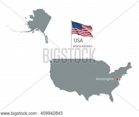 Silhouette Of Usa Country Map. Gray Editable Map With Waving National Flag And Washington City Capit
