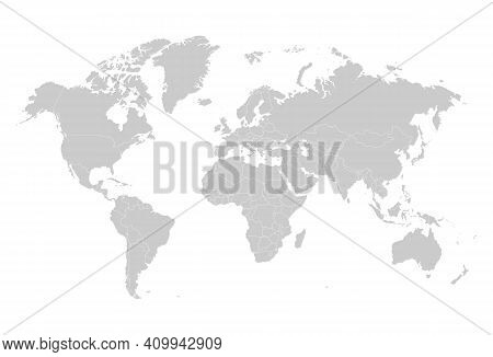 Gray Blank World Map Silhouette. Earth Blank Map Template With Geographic Territory Borders Vector I