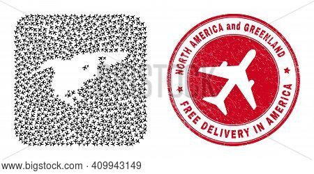 Vector Collage North America And Greenland Map Of Air Force Elements And Grunge Free Delivery Seal S