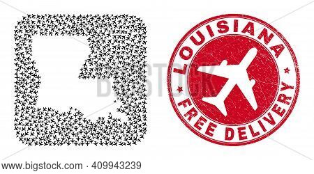Vector Mosaic Louisiana State Map Of Aircraft Elements And Grunge Free Delivery Badge.