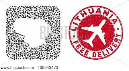 Vector Collage Lithuania Map Of Air Plane Elements And Grunge Free Delivery Stamp. Collage Geographi