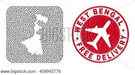 Vector Collage West Bengal State Map Of Aeroplane Items And Grunge Free Delivery Seal Stamp.
