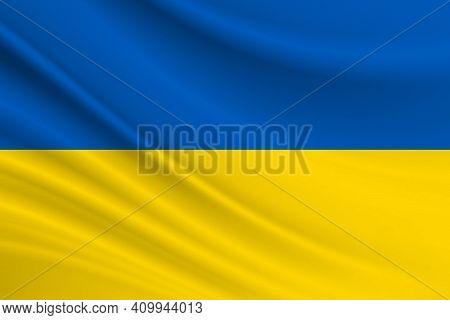 Flag Of Ukraine. Fabric Texture Of The Flag Of Ukraine.