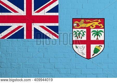 Flag Of Fiji. Brick Wall Texture Of The Flag Of Fiji.