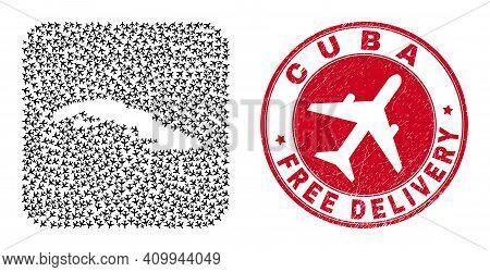 Vector Collage Cuba Map Of Aviation Items And Grunge Free Delivery Stamp. Mosaic Geographic Cuba Map