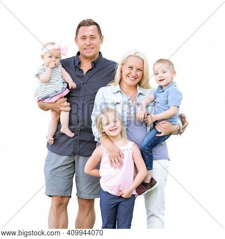 Happy Young Caucasian Family Isolated on a White Background.