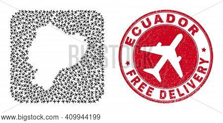 Vector Mosaic Ecuador Map Of Aircraft Elements And Grunge Free Delivery Stamp. Mosaic Geographic Ecu