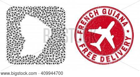 Vector Collage French Guiana Map Of Air Force Elements And Grunge Free Delivery Stamp. Mosaic Geogra