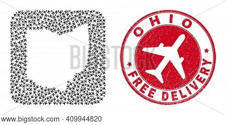 Vector Collage Ohio State Map Of Aircraft Items And Grunge Free Delivery Seal Stamp. Collage Geograp