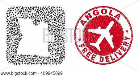 Vector Mosaic Angola Map Of Aviation Items And Grunge Free Delivery Seal Stamp. Mosaic Geographic An