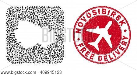 Vector Mosaic Novosibirsk Region Map Of Aeroplane Items And Grunge Free Delivery Badge.