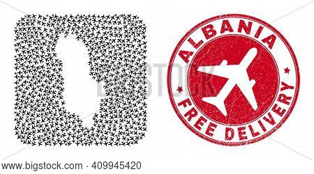 Vector Collage Albania Map Of Air Force Items And Grunge Free Delivery Stamp. Mosaic Geographic Alba