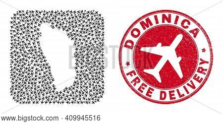 Vector Mosaic Dominica Island Map Of Aeroplane Elements And Grunge Free Delivery Badge.
