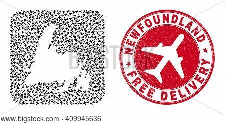 Vector Mosaic Newfoundland Island Map Of Air Force Items And Grunge Free Delivery Stamp.
