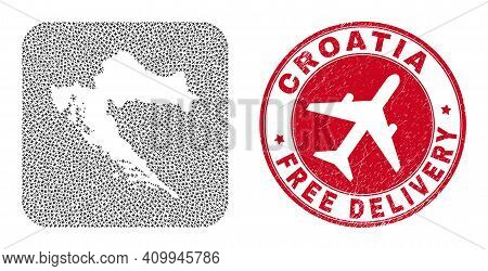 Vector Collage Croatia Map Of Airliner Items And Grunge Free Delivery Seal Stamp. Collage Geographic