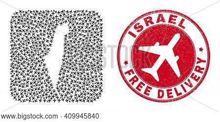 Vector Mosaic Israel Map Of Aviation Elements And Grunge Free Delivery Seal Stamp. Collage Geographi