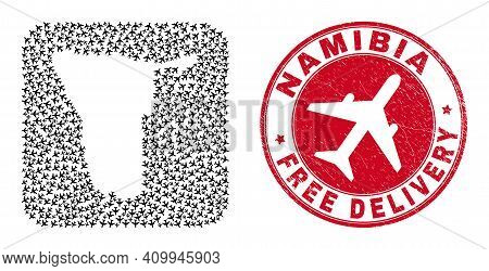 Vector Mosaic Namibia Map Of Airplane Items And Grunge Free Delivery Stamp. Mosaic Geographic Namibi