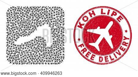 Vector Mosaic Koh Lipe Map Of Aeroplane Items And Grunge Free Delivery Seal. Collage Geographic Koh