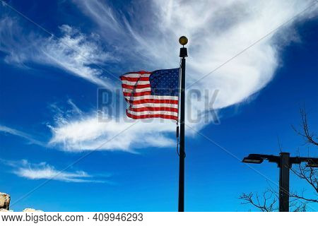 American Flag Against The Sky Patriotismday Memorial