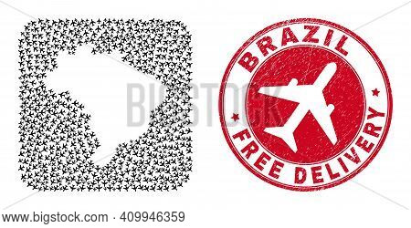 Vector Mosaic Brazil Map Of Aircraft Elements And Grunge Free Delivery Badge. Mosaic Geographic Braz