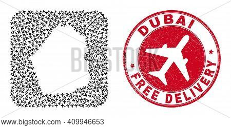 Vector Collage Dubai Emirate Map Of Aviation Elements And Grunge Free Delivery Seal. Collage Geograp
