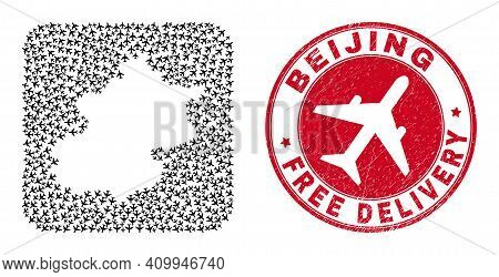 Vector Mosaic Beijing City Map Of Air Force Elements And Grunge Free Delivery Seal Stamp.