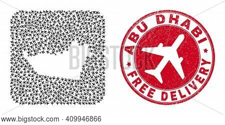Vector Mosaic Abu Dhabi Emirate Map Of Aeroplane Items And Grunge Free Delivery Stamp.