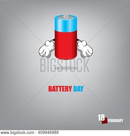 Poster For The Day Of February Holidays - Battery Day. Standard Battery, Cylindrical.