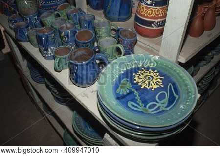 Traditional Caribbean Serving Plate And Cups - Artisan Pottery.
