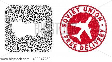 Vector Collage Soviet Union Map Of Airliner Items And Grunge Free Delivery Stamp. Collage Geographic