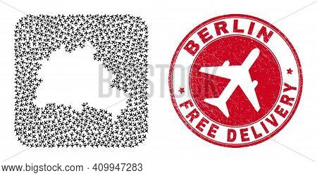 Vector Collage Berlin City Map Of Airplane Items And Grunge Free Delivery Seal Stamp.