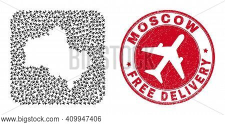 Vector Collage Moscow Region Map Of Air Plane Items And Grunge Free Delivery Stamp. Mosaic Geographi