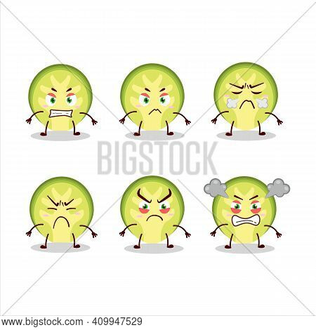 Slice Of Brussels Sprouts Cartoon Character With Various Angry Expressions