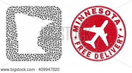 Vector Mosaic Minnesota State Map Of Airliner Elements And Grunge Free Delivery Stamp.