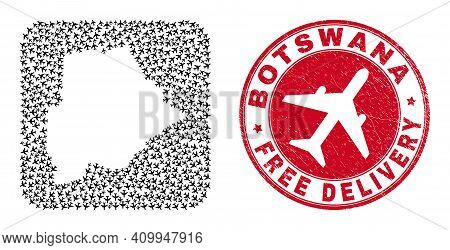 Vector Collage Botswana Map Of Air Force Items And Grunge Free Delivery Seal. Mosaic Geographic Bots