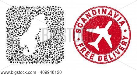 Vector Mosaic Scandinavia Map Of Jet Vehicle Elements And Grunge Free Delivery Badge. Mosaic Geograp