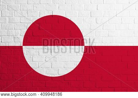 Flag Of Greenland. Brick Wall Texture Of The Flag Of Greenland.