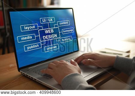 Anonymous Person Typing On Laptop With Web Design Program Displayed On Screen. Ui Ux Website Layout