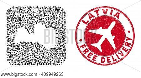 Vector Mosaic Latvia Map Of Jet Vehicle Elements And Grunge Free Delivery Stamp. Mosaic Geographic L