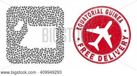 Vector Mosaic Equatorial Guinea Map Of Air Force Items And Grunge Free Delivery Seal. Mosaic Geograp