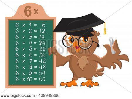 Owl Math Teacher Shows Multiplication Table 6. Math Lesson In Elementary School. Vector Cartoon Illu